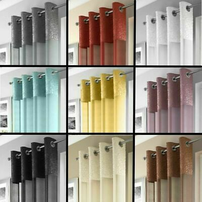 Madeira Crushed Silk Border Voile Ringtop Eyelet Curtain Panel