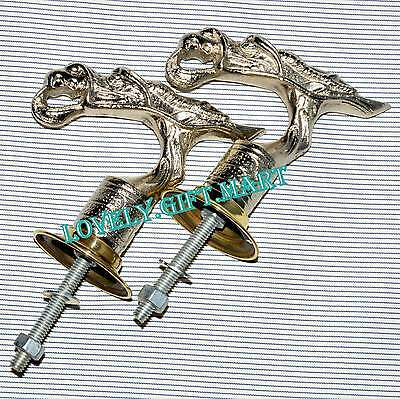 Unusual Cast Brass Door Handles Pulls Oriental Dragon Bird Vintage Pair Old