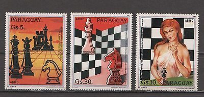 Paraguay Chess Schach Eches 1984 FIDE 3 stamps