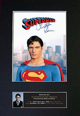 CHRISTOPHER REEVE Superman Signed Mounted Autograph Photo Prints A4 373