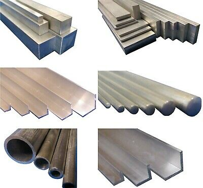 Metal 6082T6 Aluminium Round Square Flat Bar/Rod & Pipe/Tube 100mm to 600mm lng