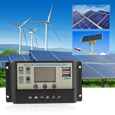 10A 20A 30A PWM LCD USB Solar Panel Battery Regulator Charge Controller 12V 24V