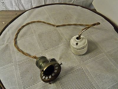 Antique 20's RARE DISCONNECT SINGLE PENDANT LIGHT w Vented Shade FITTER Adapter