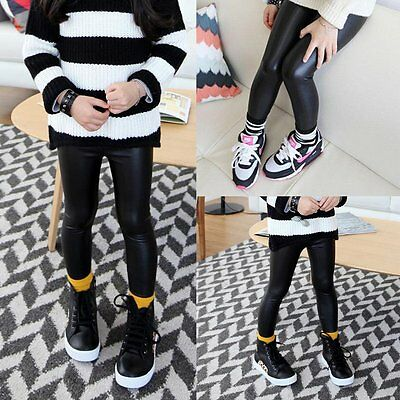 Children Baby Girl Stretchy Leggings Trousers Toddler Kids PU Leather Pants 2-7Y