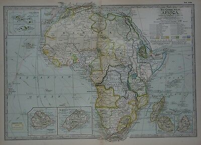Original 1897 Map AFRICA Colonies Explorers Liberia Cape Colony Guinea Algeria