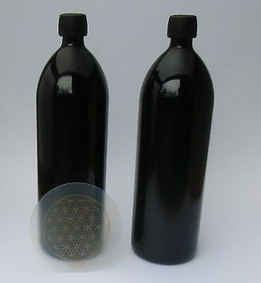 Two Water bottles 1.000 ml Mironglas Violet glass + 1 Coaster Life flower