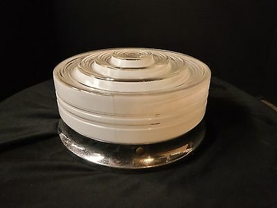 Vintage 30s 40's Deco White & Clear Glass Shade & Fixture Kitchen Bathroom Hall