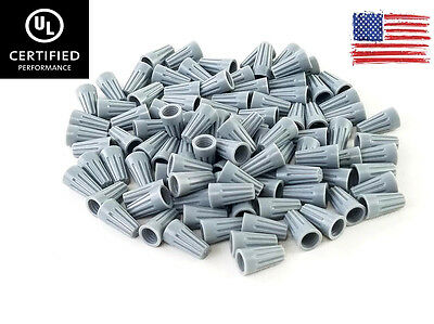 1000) Grey Twist-On Wire GARD Connector Conical nuts 22-16 Gauge Barrel Screw US