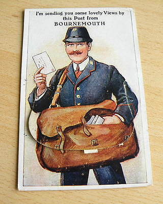1927 pull-out POSTCARD - Postman with mailbag - BOURNEMOUTH - Postage Due stamp