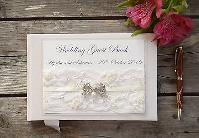Personalised Wedding Guest Book. Luxury Ivory Lace & Vintage Bow Guest Book.