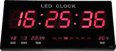 XXL grandes rojo LED digital Reloj de pared con Fecha Temperatura Alarm Clock