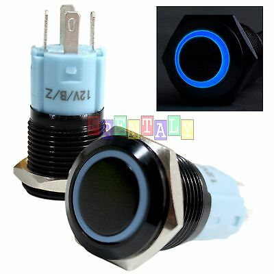 BSFn 16mm Blue Angel Eye LED 12V Latching Push Button Power Switch Waterproof