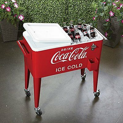 Coca Cola Cooler Retro Rolling 80-Quart Casters With Breaks Opener Red