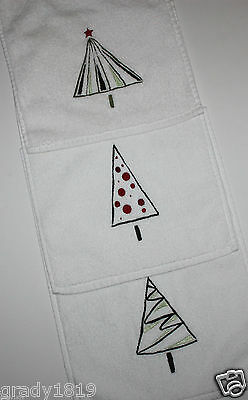 Eddie Bauer Christmas Hand Towel Lot w/ Embroidered Whimsical Christmas Trees