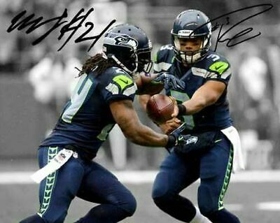 Russell Wilson Marshawn Lynch Seattle Seahawks Signed Photo Autograph Reprint
