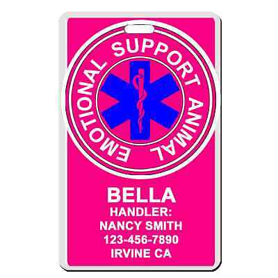 Emotional Service Dog ESA emotional support animal PINK Badge Wallet Card dog ID
