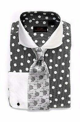 Dress Shirt Only Steven Land Classic Fit French Cuffs-Orange//Blue-DS1568-OR