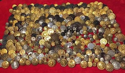 Huge! 380pc Antique Button Lot Military,Railroad Overall & Public Service Etc.NR