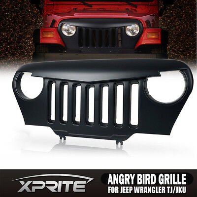 Angry Bird Front Matte Grill Grille Black ABS For 1997-2006 Jeep Wrangler TJ USA