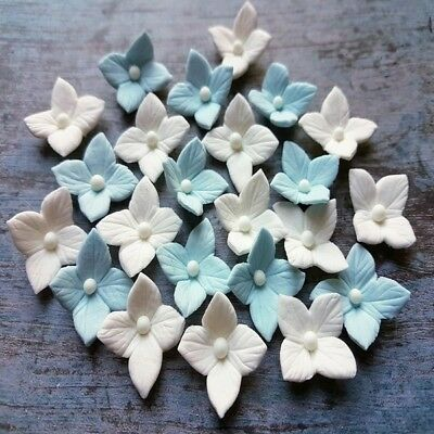 20 edible sugar paste flowers hydrangea cake cupcake toppers decorations