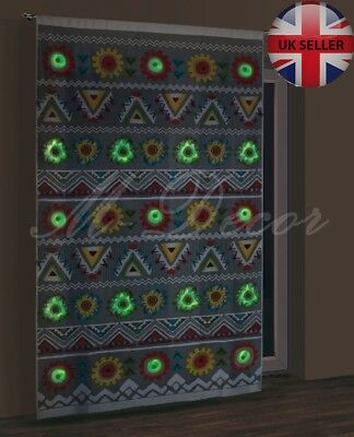 """GLOW IN THE DARK or Multicolour net curtain panel """"AZTEC"""" ready to hang"""