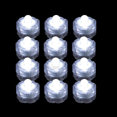 12 Submersible LED Waterproof Lights RGB for Vase Wedding Party Fish Tank Decors
