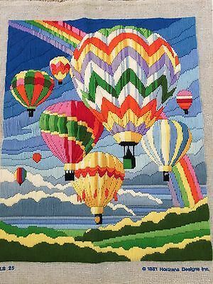 Vtg Complete Longstitch Always Chasing Rainbows Hot Air Balloon Horizons Design