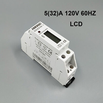 5(32)A 120V 60HZ Single phase Din rail Watt hour energy meter LCD digital disply