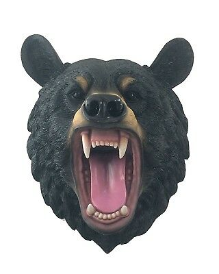 """Large 16.25"""" Height Growling Black Bear Head Bust Wall Mounted Hanging Sculpture"""