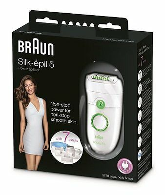 Braun Silk-Epil 5 Power 5780 Epilator with 7 Extras Brand New Sealed Women Care