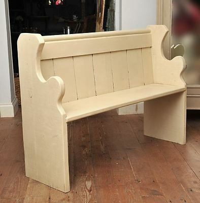 Old Vintage Antique Pine Pew Painted in Annie Sloan 'Old Ochre'