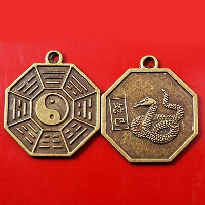 Chinese Zodiac Snake Tai Chi Pakua Feng Shui Pendants W five Element Thread