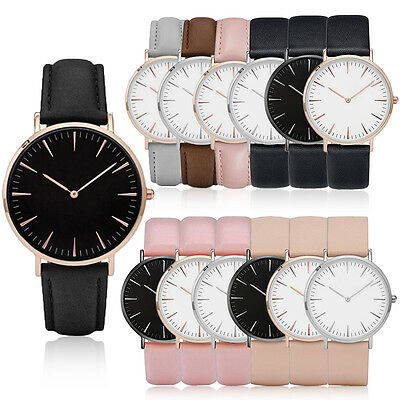 Women Men Luxury Quartz Analog Watch Gold Leather Band Wrist Watches Casual
