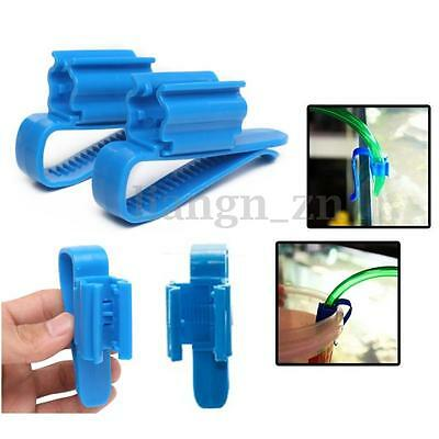 2Pcs Blue Tuyau Tube D'eau Pince Clip Fixation Support Poisson Aquarium Citerne