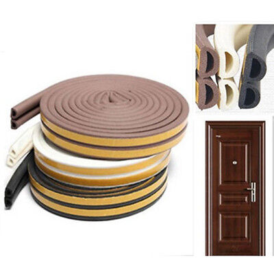 5M D Type Self Adhesive Home Window Door Draught Rubber Excluder Foam Seal Strip