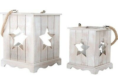 2er set holzlaterne shabby chic holz laterne licht holzlampe teelicht deko wei eur 35 95. Black Bedroom Furniture Sets. Home Design Ideas
