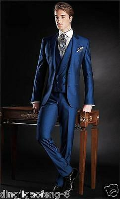 Men Formal Suit Shiny Blue Tailored Wedding Groomsmen Tuxedos Business Prom Suit