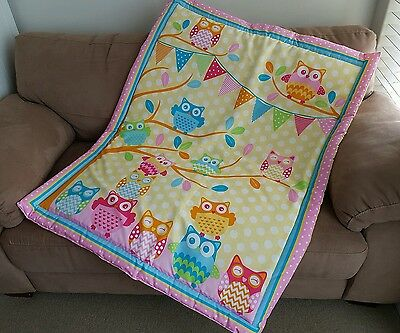 Yellow Owls Cot Quilt or Playmat Handmade NEW