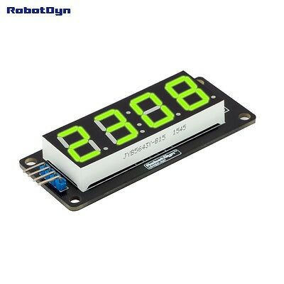 LED display tube module, TM1637 driver, 4-Digit , 7-segments, GREEN Robotdyn