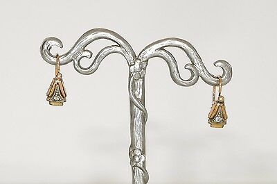 Victorian very old drop gold filled earrings with crystal, sign