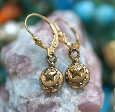 Victorian very old drop gold filled earrings, sign