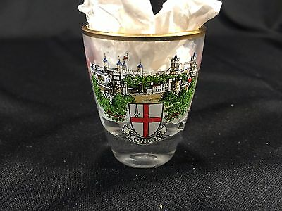 Vintage London England Gold Rimmed Collectible Shot Glass 2""