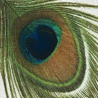 4 x Paper Napkins - Peacock Feather - Ideal for Decoupage / Napkin Art