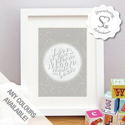 Love You To The Moon & Back Baby/Child Room Christening Art Gift Print or Framed