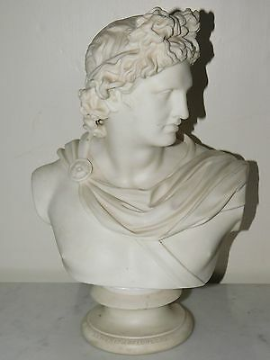 "Antique Victorian Parian Ware ""apollo"" Bust Art Unioin Of London 1855"