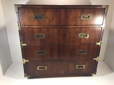 Vintage Henredon Campaign Chest Walnut? Brass Hardware Dovetailed Drawers 28""