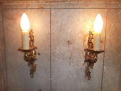 French a pair of classic  bronze wall light sconces finely detail antique