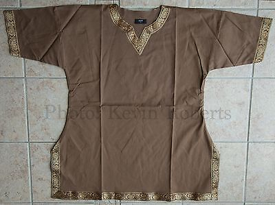 Viking Tunic BROWN +  Short Sleeve Norse Saxon Shirt Medieval Cosplay 4 Sizes