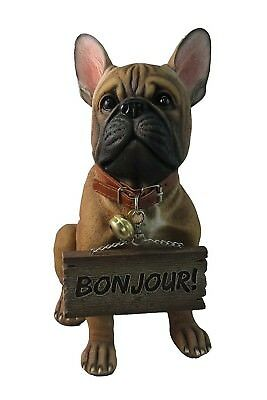 "12"" Height French Bulldog Jingle Collar Welcoming Statue Bonjour and French Lick"