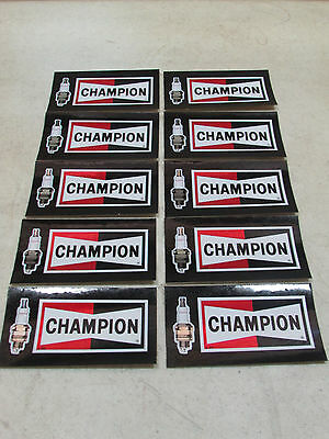 10 Pcs. Vintage Champion Spark Plug Stickers 4 X 2 1/4 Inches